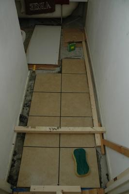 9 tiles done - undertile underfloor heating