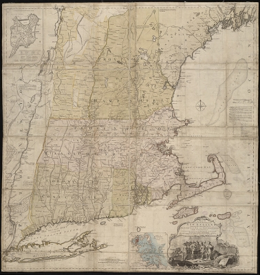 A map of the most inhabited part of New England, containing the provinces of Massachusets Bay and New Hampshire, with the colonies of Conecticut and Rhode Island ...