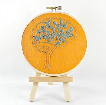brain 4Orange and Grey Brain Anatomy Mini Hoop Art. Hand Embroidered.