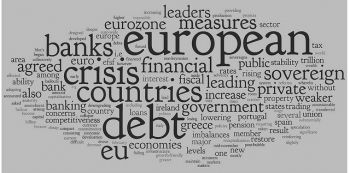Euro Debt Crisis Word Cloud - Grey and Black - Grey background