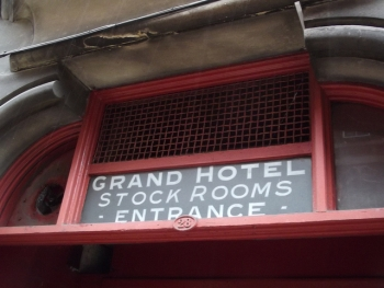 Grand Hotel - Barwick Street - Stock Rooms Entrance - sign