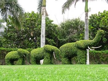 Green Elephants Garden Sculptures