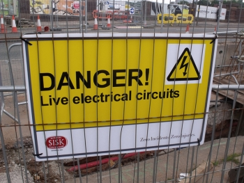 Longbridge road works - sign - Danger! Live electrical circuits