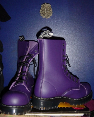 Purple Vegan Combat Boots