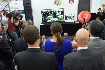 Video conference with Japan at the official NBN launch event at Gungahlin ACT