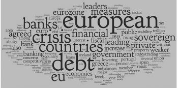 Euro Debt Crisis Word Cloud - Grey and Black - Grey background