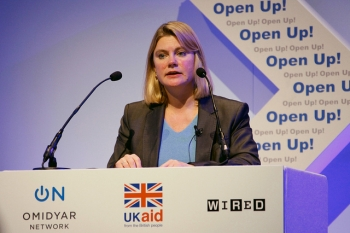 Justine Greening speaking at the DFID/Omidyar Network Open Up! conference