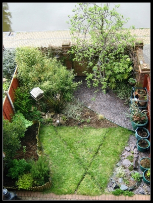 My Garden from above with notes - April 2009