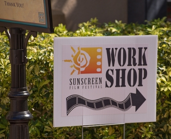 Sunscreen Film Festival Workshop yard sign