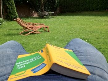Taking a break outside to learn German