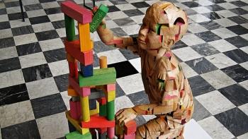 Wooden Sculpture of Science Genetics