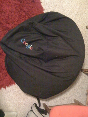 Ye olde Google bean bag chair (roommate Sasha works at the YouTube, which as we all know recently bought the Googlecom for 5 trillion dollars, 5 blankets, and 7 beanbag chairs -- this being one, stuffed with the hair of all Mark Cuban